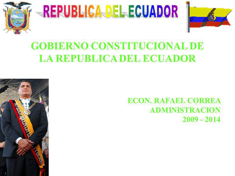 GOBIERNO CONSTITUCIONAL DE LA REPUBLICA DEL ECUADOR ECON. RAFAEL CORREA ADMINISTRACION 2009 - 2014