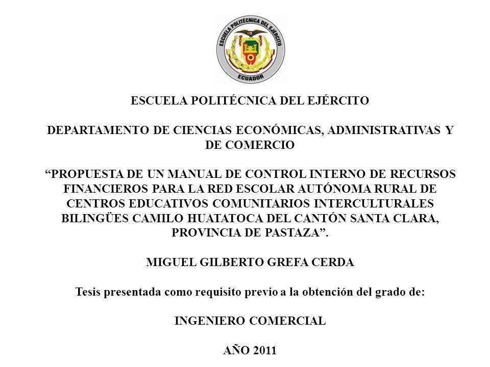 ESCUELA POLITÉCNICA DEL EJÉRCITO DEPARTAMENTO DE CIENCIAS ECONÓMICAS, ADMINISTRATIVAS Y DE COMERCIO PROPUESTA DE UN MANUAL DE CONTROL INTERNO DE RECUR