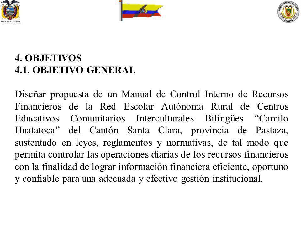 4. OBJETIVOS 4.1. OBJETIVO GENERAL Diseñar propuesta de un Manual de Control Interno de Recursos Financieros de la Red Escolar Autónoma Rural de Centr