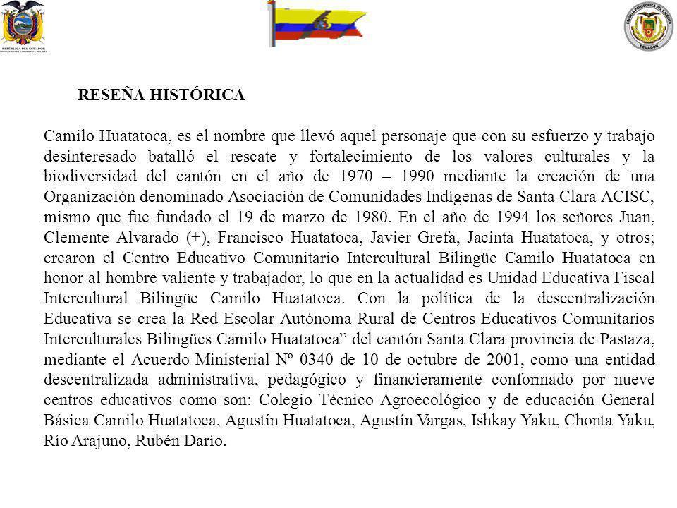RESEÑA HISTÓRICA Camilo Huatatoca, es el nombre que llevó aquel personaje que con su esfuerzo y trabajo desinteresado batalló el rescate y fortalecimi