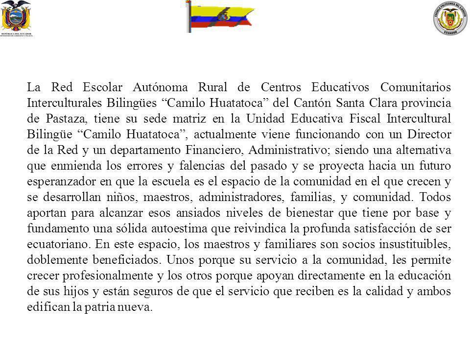 La Red Escolar Autónoma Rural de Centros Educativos Comunitarios Interculturales Bilingües Camilo Huatatoca del Cantón Santa Clara provincia de Pastaz