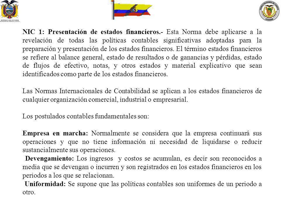 NIC 1: Presentación de estados financieros.- Esta Norma debe aplicarse a la revelación de todas las políticas contables significativas adoptadas para
