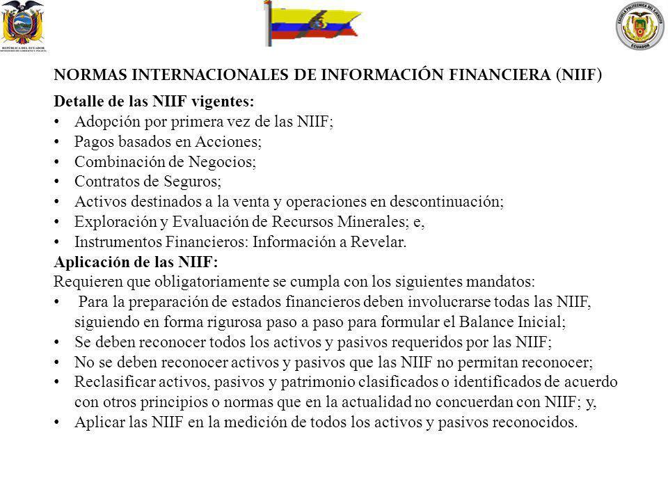 NORMAS INTERNACIONALES DE INFORMACIÓN FINANCIERA (NIIF) Detalle de las NIIF vigentes: Adopción por primera vez de las NIIF; Pagos basados en Acciones;
