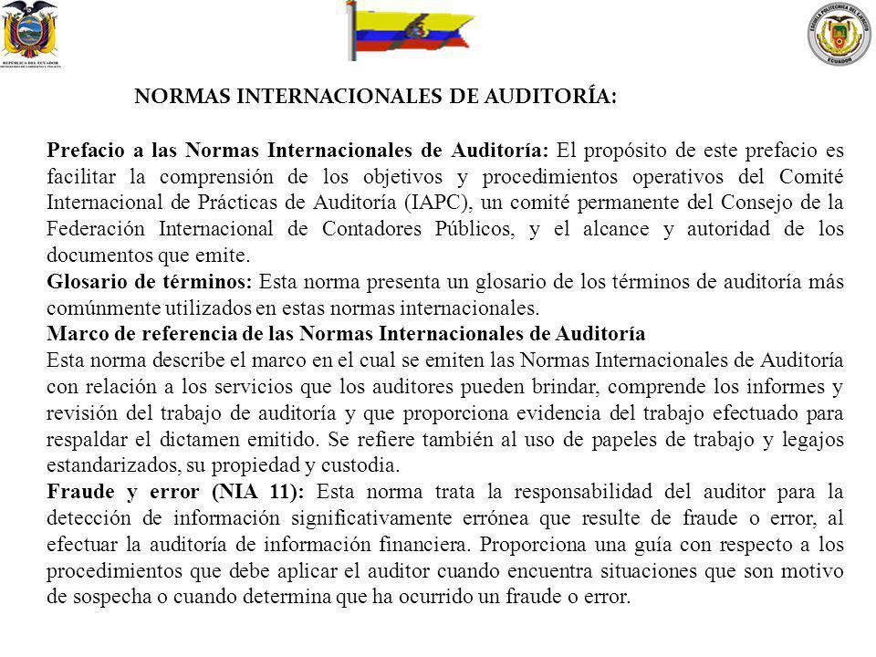 NORMAS INTERNACIONALES DE AUDITORÍA: Prefacio a las Normas Internacionales de Auditoría: El propósito de este prefacio es facilitar la comprensión de