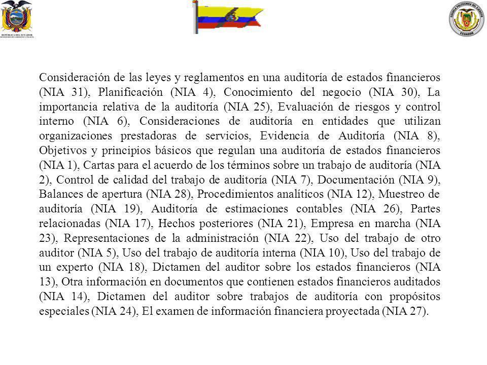 Consideración de las leyes y reglamentos en una auditoría de estados financieros (NIA 31), Planificación (NIA 4), Conocimiento del negocio (NIA 30), L