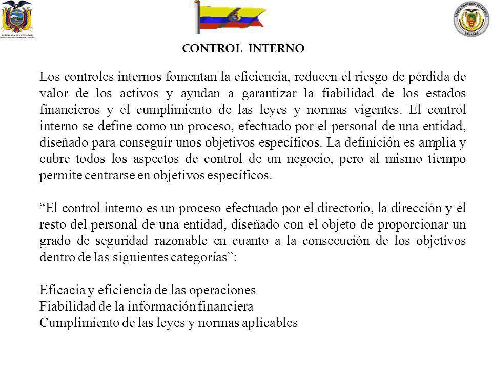 CONTROL INTERNO Los controles internos fomentan la eficiencia, reducen el riesgo de pérdida de valor de los activos y ayudan a garantizar la fiabilida