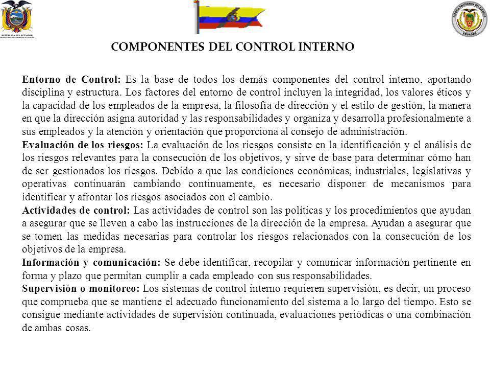 COMPONENTES DEL CONTROL INTERNO Entorno de Control: Es la base de todos los demás componentes del control interno, aportando disciplina y estructura.