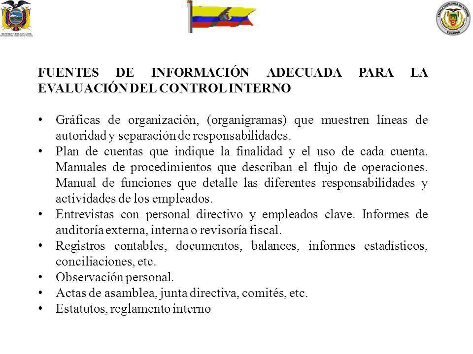 FUENTES DE INFORMACIÓN ADECUADA PARA LA EVALUACIÓN DEL CONTROL INTERNO Gráficas de organización, (organigramas) que muestren líneas de autoridad y sep