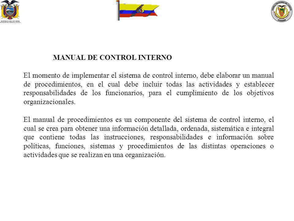 MANUAL DE CONTROL INTERNO El momento de implementar el sistema de control interno, debe elaborar un manual de procedimientos, en el cual debe incluir