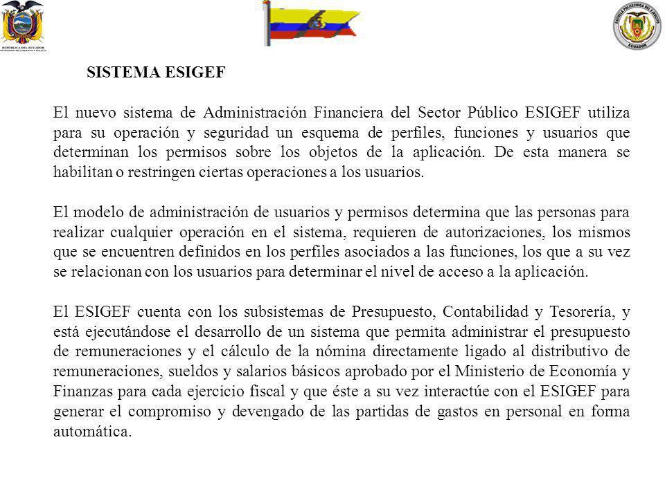 SISTEMA ESIGEF El nuevo sistema de Administración Financiera del Sector Público ESIGEF utiliza para su operación y seguridad un esquema de perfiles, f