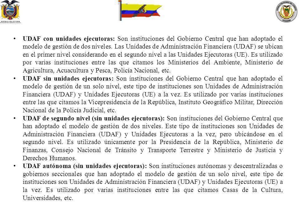 UDAF con unidades ejecutoras: Son instituciones del Gobierno Central que han adoptado el modelo de gestión de dos niveles. Las Unidades de Administrac