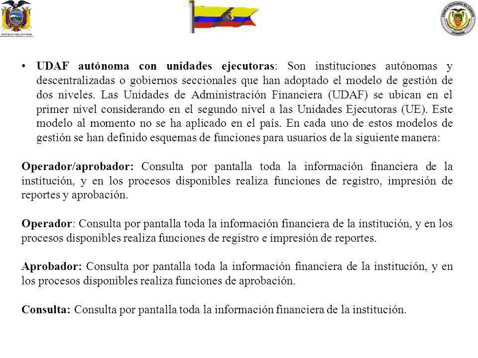 UDAF autónoma con unidades ejecutoras: Son instituciones autónomas y descentralizadas o gobiernos seccionales que han adoptado el modelo de gestión de