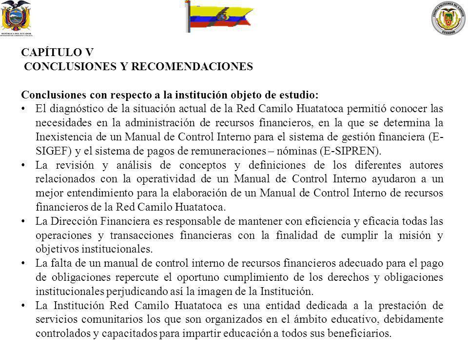 CAPÍTULO V CONCLUSIONES Y RECOMENDACIONES Conclusiones con respecto a la institución objeto de estudio: El diagnóstico de la situación actual de la Re