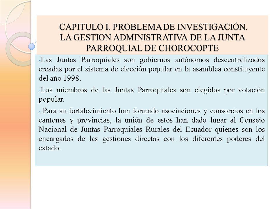 CAPITULO I. PROBLEMA DE INVESTIGACIÓN. CAPITULO I. PROBLEMA DE INVESTIGACIÓN. LA GESTION ADMINISTRATIVA DE LA JUNTA PARROQUIAL DE CHOROCOPTE - Las Jun