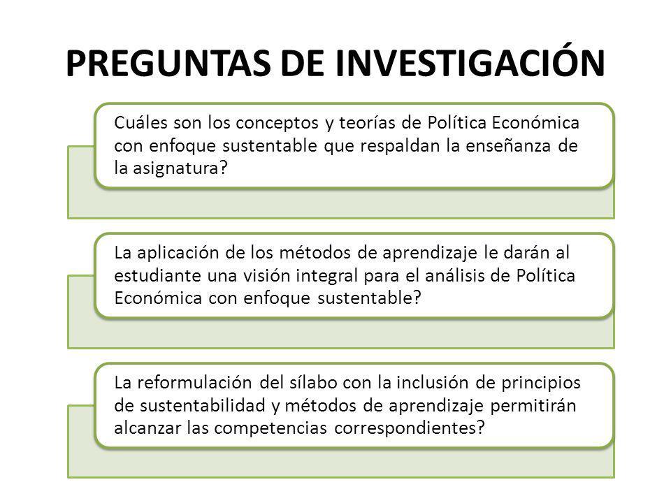 PREGUNTAS DE INVESTIGACIÓN Cuáles son los conceptos y teorías de Política Económica con enfoque sustentable que respaldan la enseñanza de la asignatur
