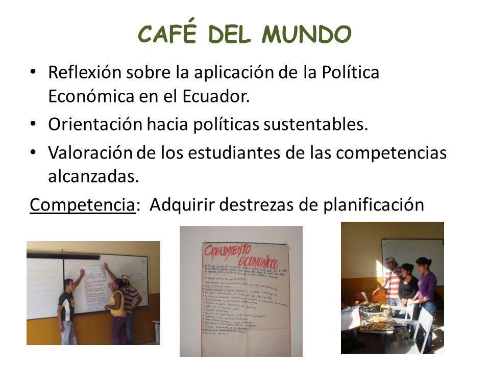 CAFÉ DEL MUNDO Reflexión sobre la aplicación de la Política Económica en el Ecuador. Orientación hacia políticas sustentables. Valoración de los estud
