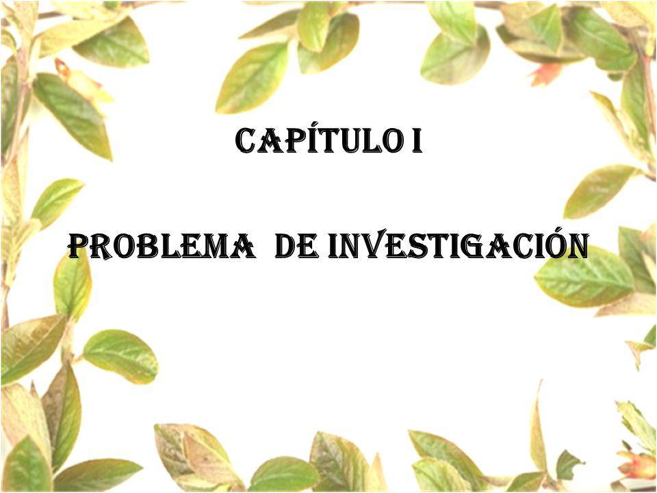 CAPÍTULO I PROBLEMA de investigación