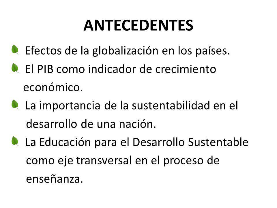ANTECEDENTES Efectos de la globalización en los países. El PIB como indicador de crecimiento económico. La importancia de la sustentabilidad en el des