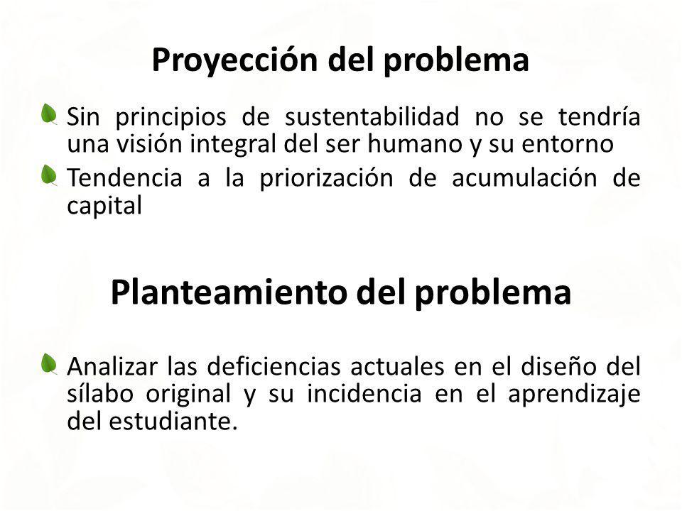 Proyección del problema Sin principios de sustentabilidad no se tendría una visión integral del ser humano y su entorno Tendencia a la priorización de