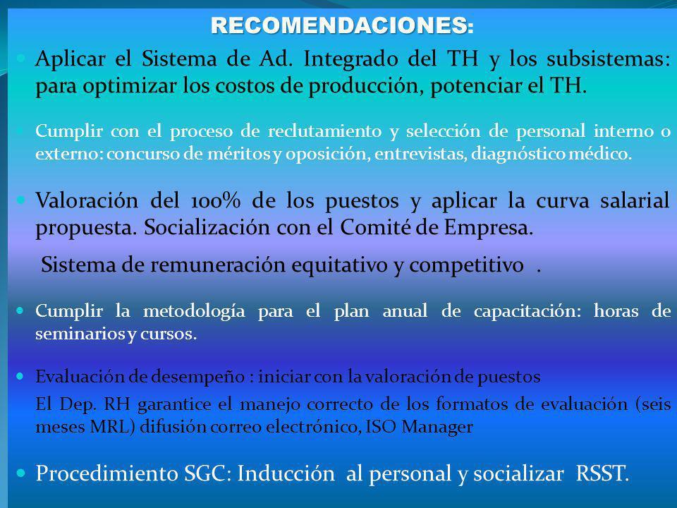 RECOMENDACIONES RECOMENDACIONES : Aplicar el Sistema de Ad. Integrado del TH y los subsistemas: para optimizar los costos de producción, potenciar el