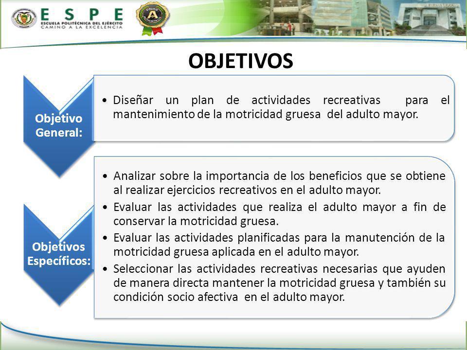 OBJETIVOS Objetivo General: Diseñar un plan de actividades recreativas para el mantenimiento de la motricidad gruesa del adulto mayor.