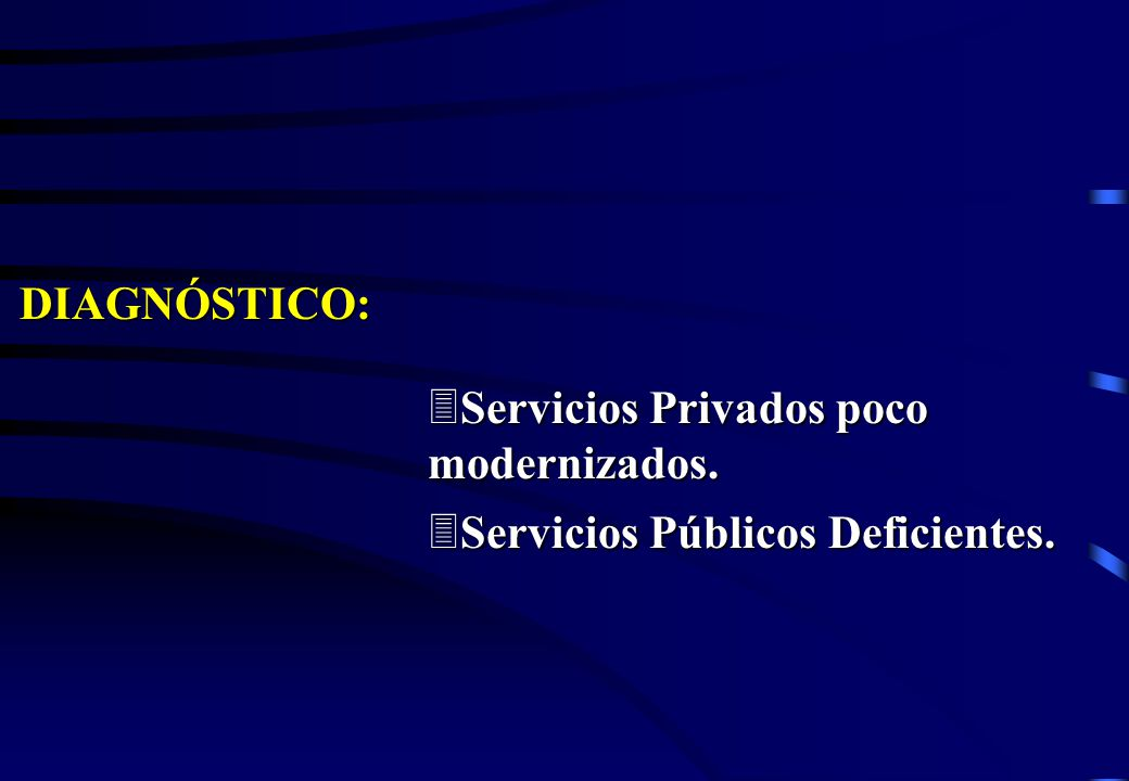 DIAGNÓSTICO: 3Servicios Privados poco modernizados. 3Servicios Públicos Deficientes.