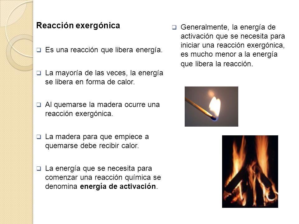 Reacción exergónica Es una reacción que libera energía. La mayoría de las veces, la energía se libera en forma de calor. Al quemarse la madera ocurre