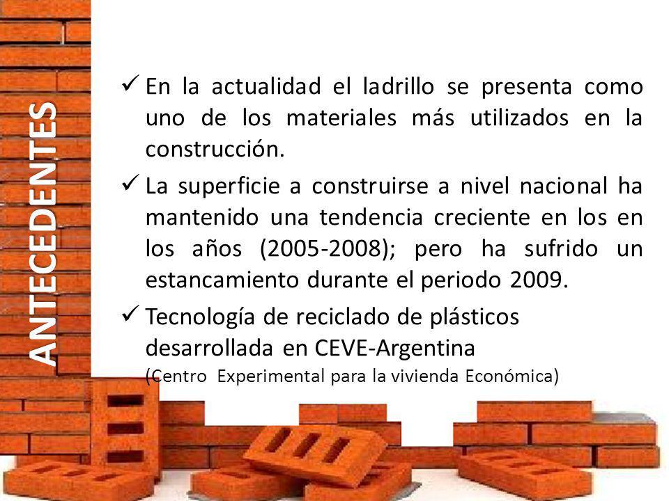 ANTECEDENTES En la actualidad el ladrillo se presenta como uno de los materiales más utilizados en la construcción. La superficie a construirse a nive