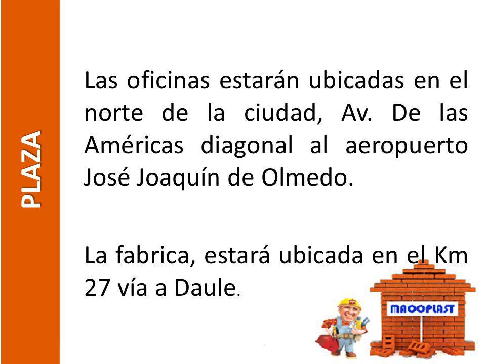 PLAZA Las oficinas estarán ubicadas en el norte de la ciudad, Av. De las Américas diagonal al aeropuerto José Joaquín de Olmedo. La fabrica, estará ub