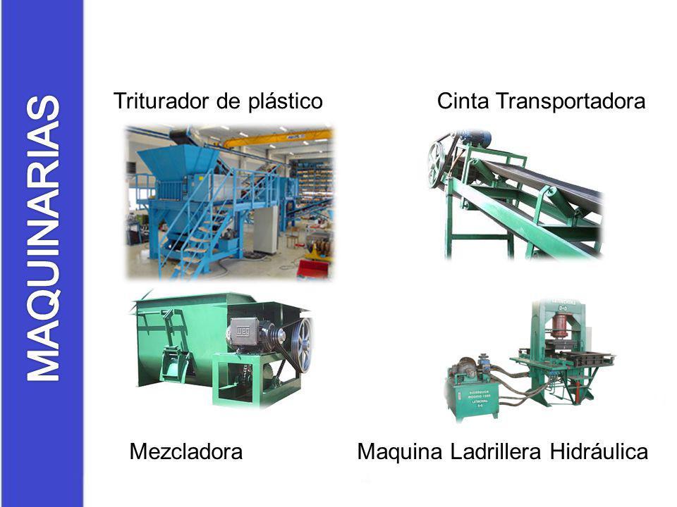 Triturador de plástico Cinta Transportadora Mezcladora Maquina Ladrillera Hidráulica