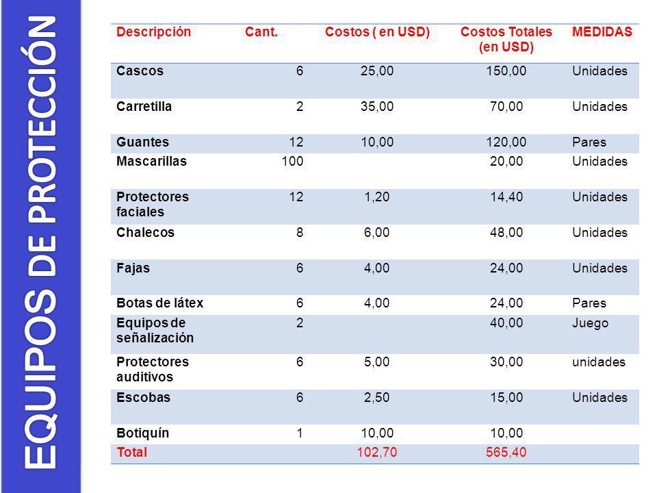 DescripciónCant.Costos ( en USD)Costos Totales (en USD) MEDIDAS Cascos625,00150,00Unidades Carretilla235,0070,00Unidades Guantes1210,00120,00Pares Mas