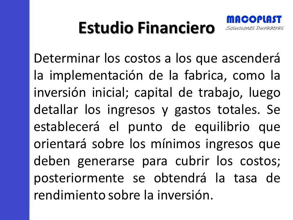 Estudio Financiero Determinar los costos a los que ascenderá la implementación de la fabrica, como la inversión inicial; capital de trabajo, luego det