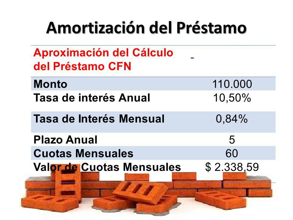 Amortización del Préstamo Aproximación del Cálculo del Préstamo CFN Monto110.000 Tasa de interés Anual10,50% Tasa de Interés Mensual0,84% Plazo Anual5