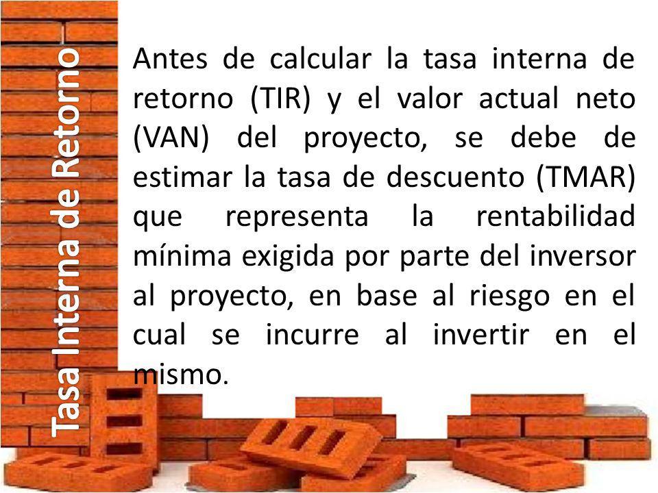 Antes de calcular la tasa interna de retorno (TIR) y el valor actual neto (VAN) del proyecto, se debe de estimar la tasa de descuento (TMAR) que repre