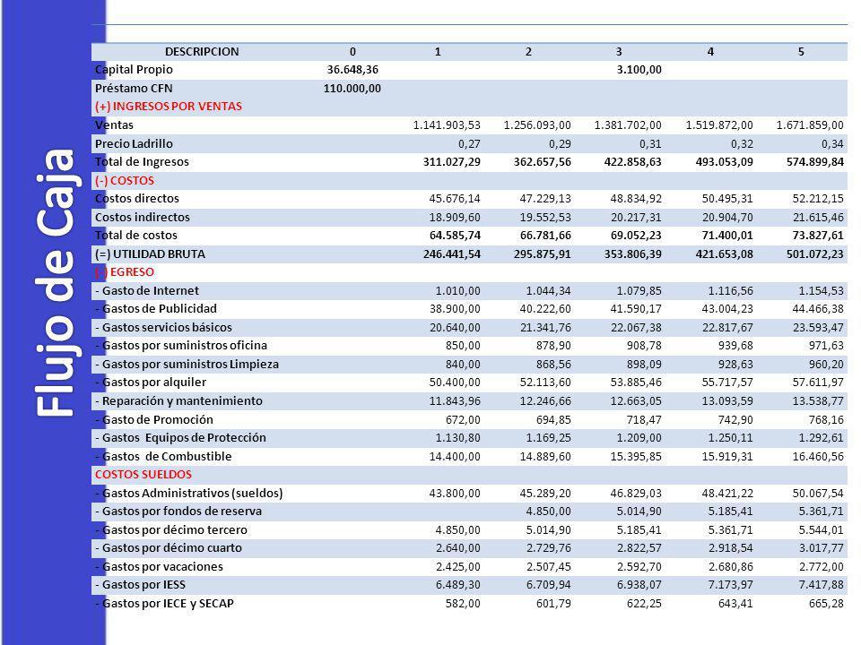 DESCRIPCION012345 Capital Propio36.648,36 3.100,00 Préstamo CFN110.000,00 (+) INGRESOS POR VENTAS Ventas 1.141.903,531.256.093,001.381.702,001.519.872