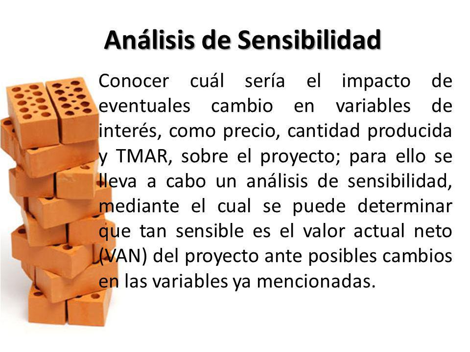 Análisis de Sensibilidad Conocer cuál sería el impacto de eventuales cambio en variables de interés, como precio, cantidad producida y TMAR, sobre el