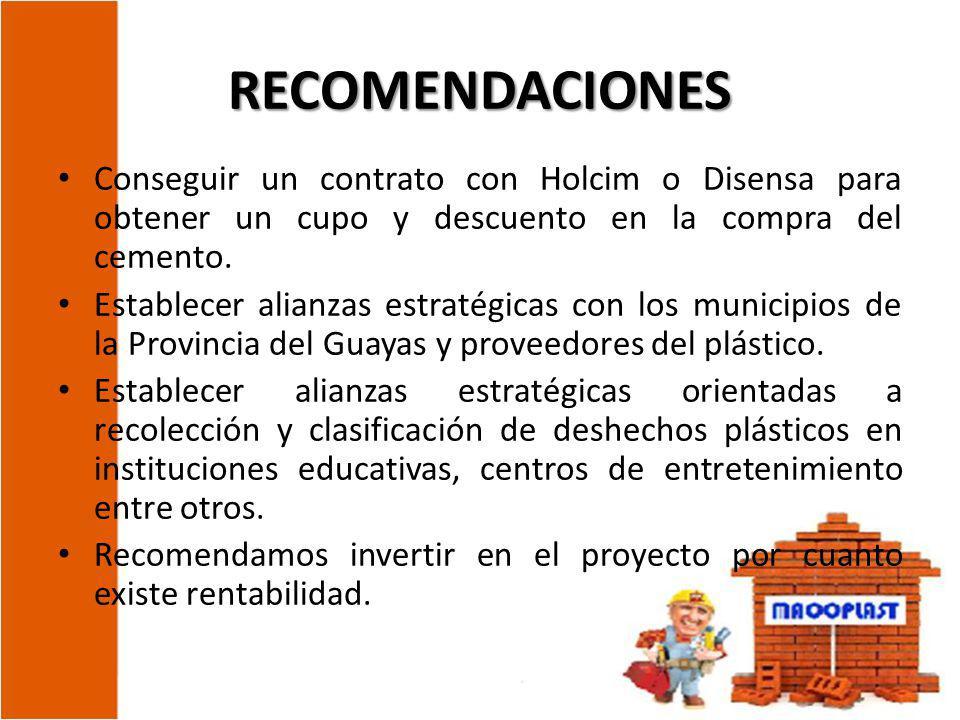 RECOMENDACIONES Conseguir un contrato con Holcim o Disensa para obtener un cupo y descuento en la compra del cemento. Establecer alianzas estratégicas