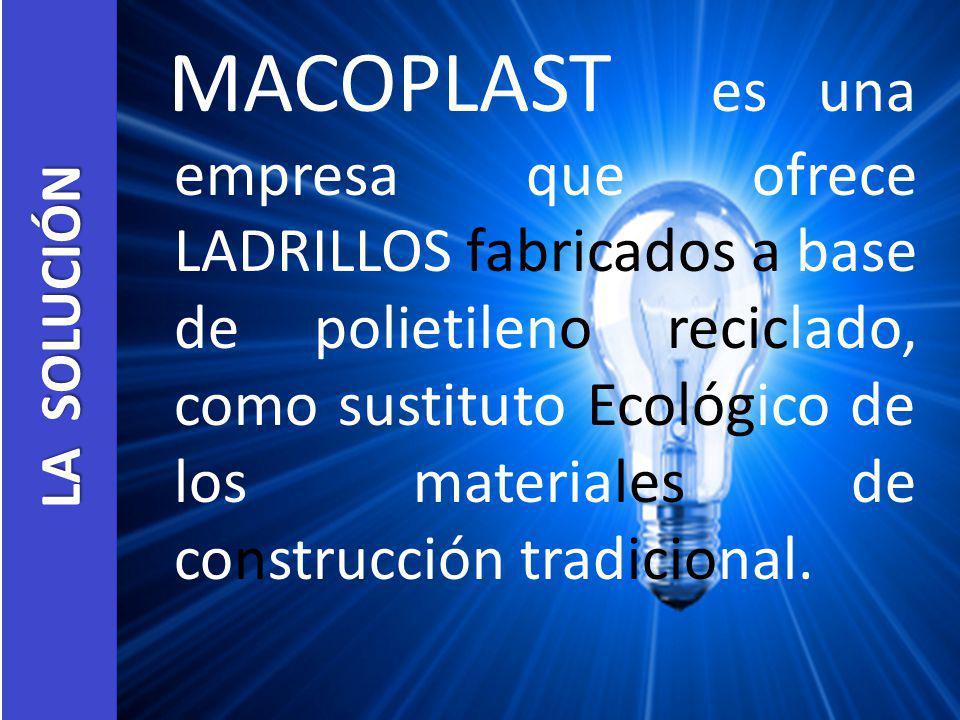 LA SOLUCIÓN MACOPLAST es una empresa que ofrece LADRILLOS fabricados a base de polietileno reciclado, como sustituto Ecológico de los materiales de co