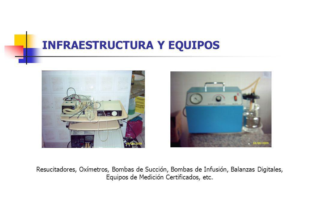 INFRAESTRUCTURA Y EQUIPOS Resucitadores, Oxímetros, Bombas de Succión, Bombas de Infusión, Balanzas Digitales, Equipos de Medición Certificados, etc.