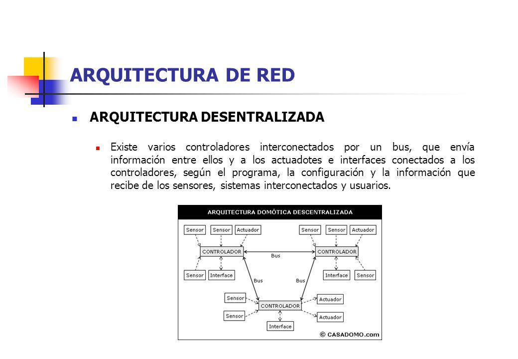 ARQUITECTURA DE RED ARQUITECTURA DESENTRALIZADA Existe varios controladores interconectados por un bus, que envía información entre ellos y a los actu