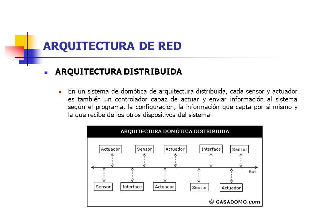 ARQUITECTURA DE RED ARQUITECTURA DISTRIBUIDA En un sistema de domótica de arquitectura distribuida, cada sensor y actuador es también un controlador c