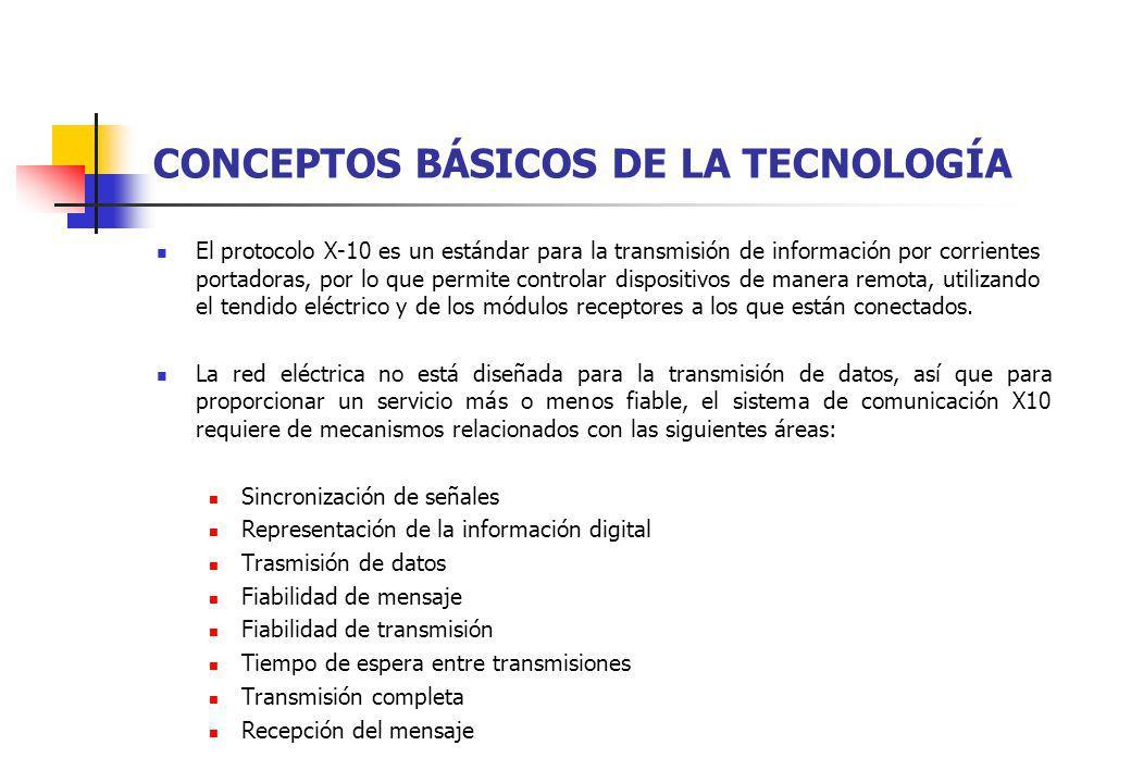 CONCEPTOS BÁSICOS DE LA TECNOLOGÍA El protocolo X-10 es un estándar para la transmisión de información por corrientes portadoras, por lo que permite c