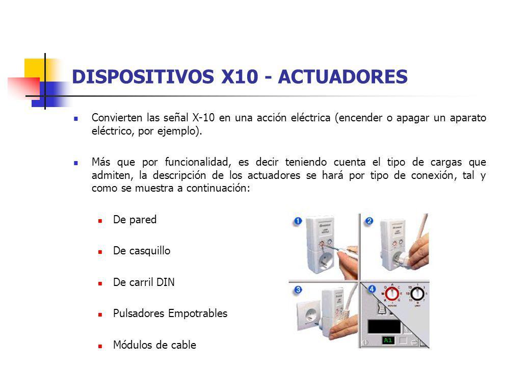 DISPOSITIVOS X10 - ACTUADORES Convierten las señal X-10 en una acción eléctrica (encender o apagar un aparato eléctrico, por ejemplo). Más que por fun