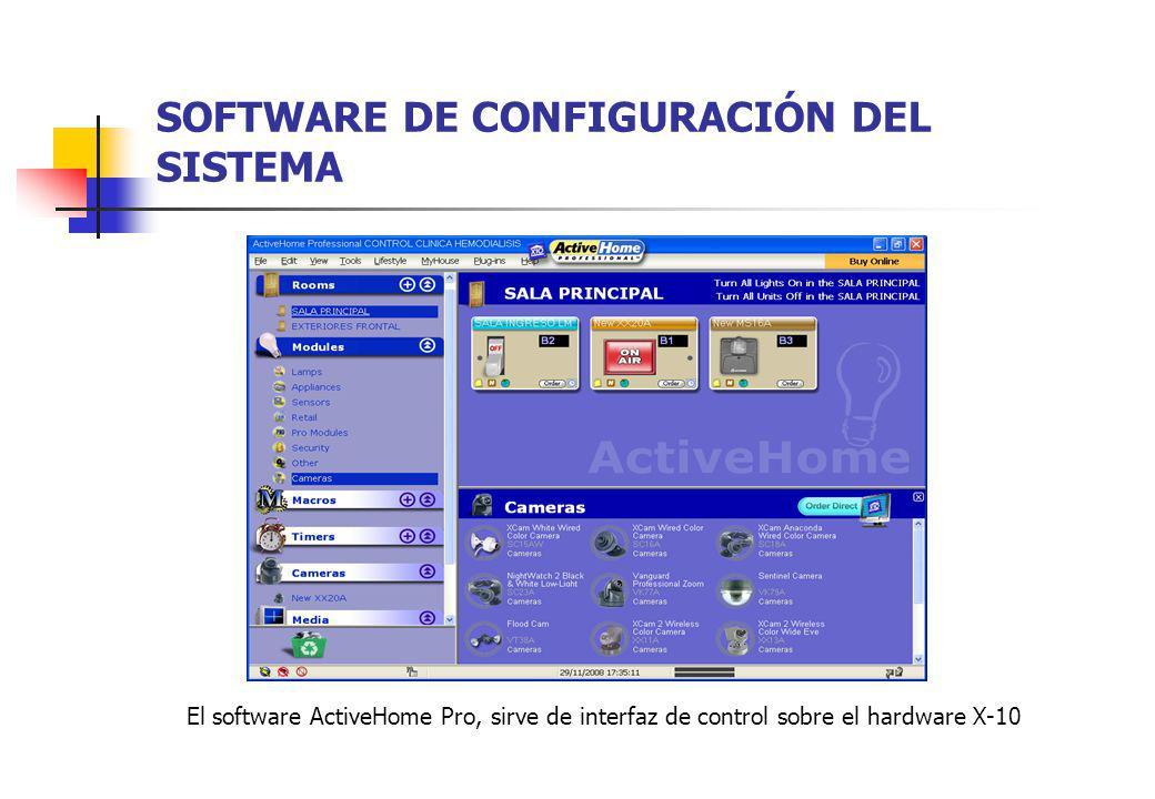 SOFTWARE DE CONFIGURACIÓN DEL SISTEMA El software ActiveHome Pro, sirve de interfaz de control sobre el hardware X-10