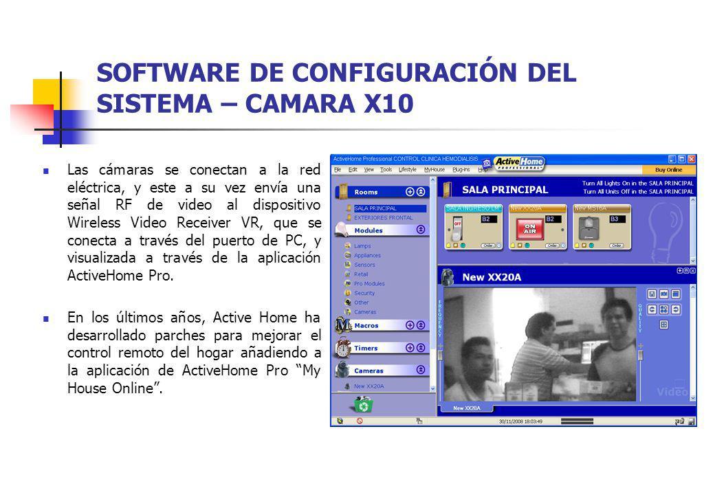 SOFTWARE DE CONFIGURACIÓN DEL SISTEMA – CAMARA X10 Las cámaras se conectan a la red eléctrica, y este a su vez envía una señal RF de video al disposit