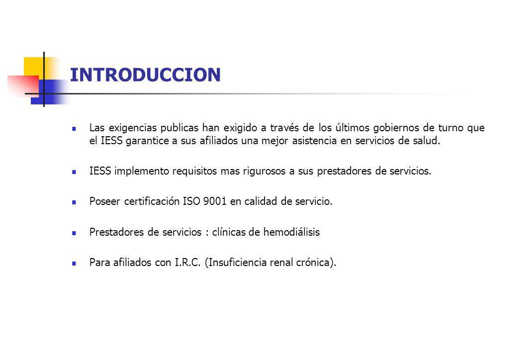 DESCRIPCION GENERAL Primer Requisito Exigido por IESS como Prestador de Servicio de Dialisis: Certificación ISO 9001: Normas Internacionales de Bioseguridad.