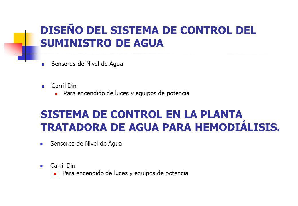 DISEÑO DEL SISTEMA DE CONTROL DEL SUMINISTRO DE AGUA Sensores de Nivel de Agua Carril Din Para encendido de luces y equipos de potencia SISTEMA DE CON