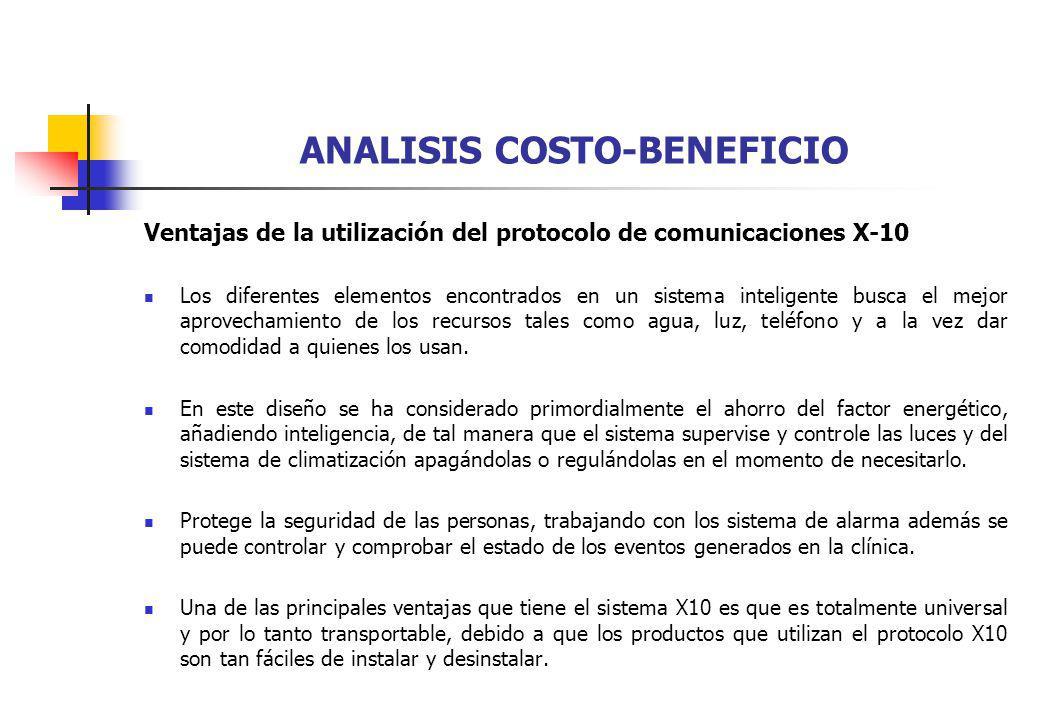 ANALISIS COSTO-BENEFICIO Ventajas de la utilización del protocolo de comunicaciones X-10 Los diferentes elementos encontrados en un sistema inteligent