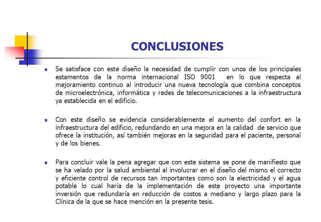 CONCLUSIONES Se satisface con este diseño la necesidad de cumplir con unos de los principales estamentos de la norma internacional ISO 9001 en lo que