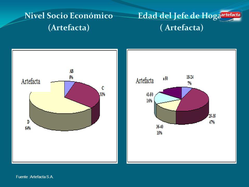 Perfil del Cliente de Artefacta Nivel Socio Económico Edad del jefe de Hogar Fuente: Artefacta S.A.